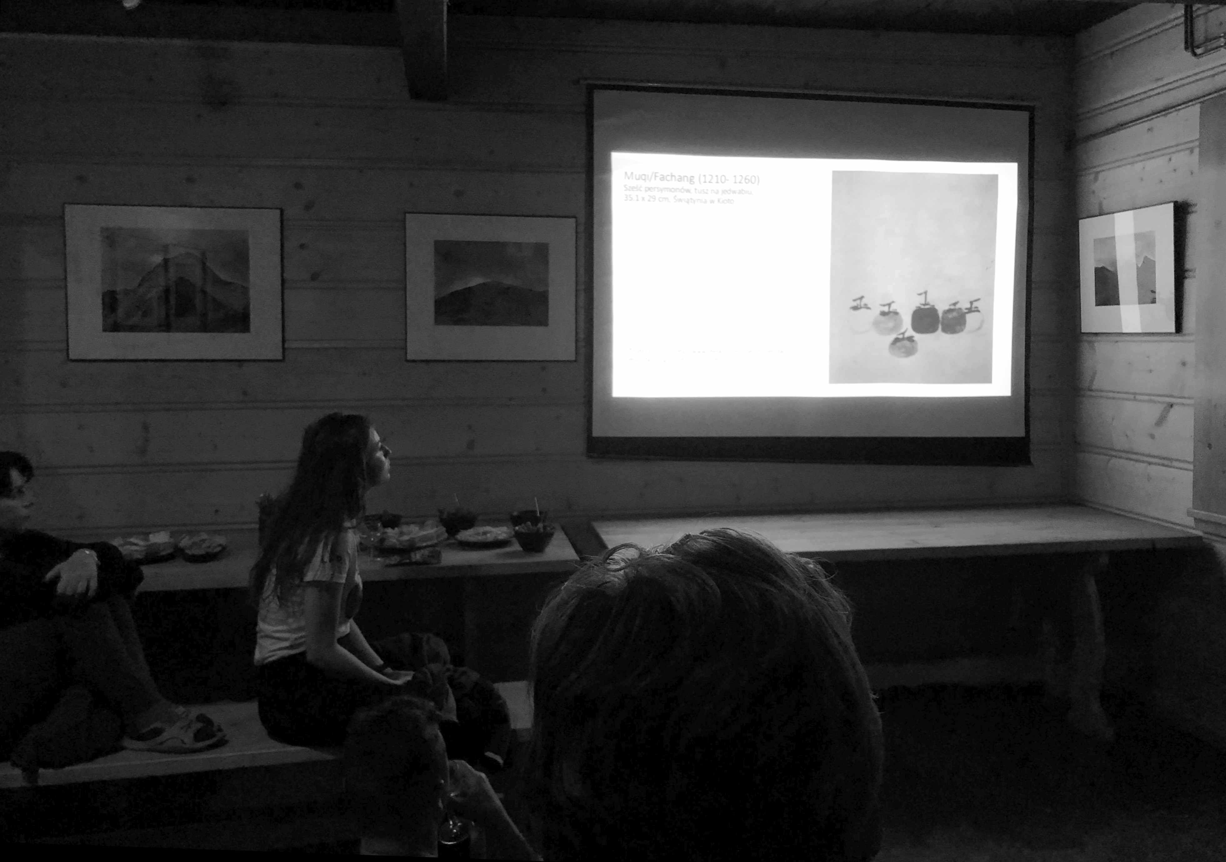 Presentation about ink paintings, PTTK Hostel in the Roztoka Valley, Tatra Mountains, 2019