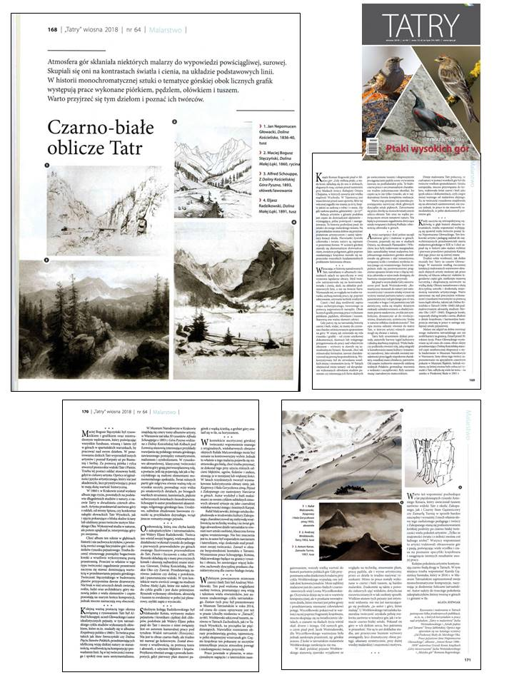 Article: Black and white images of Tatras, magazine Tatry, 2018