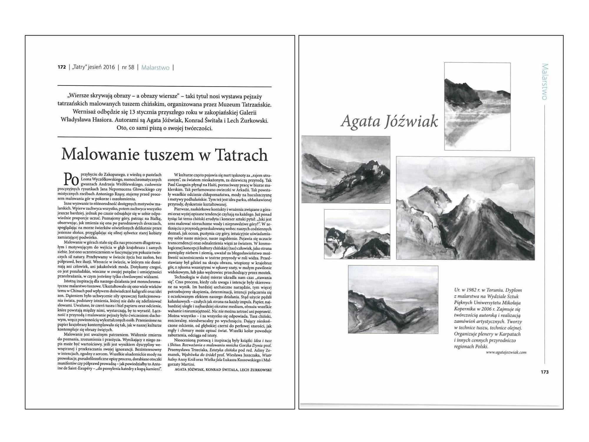Article: Painting by ink in Tatras, magazine Tatry, 2016