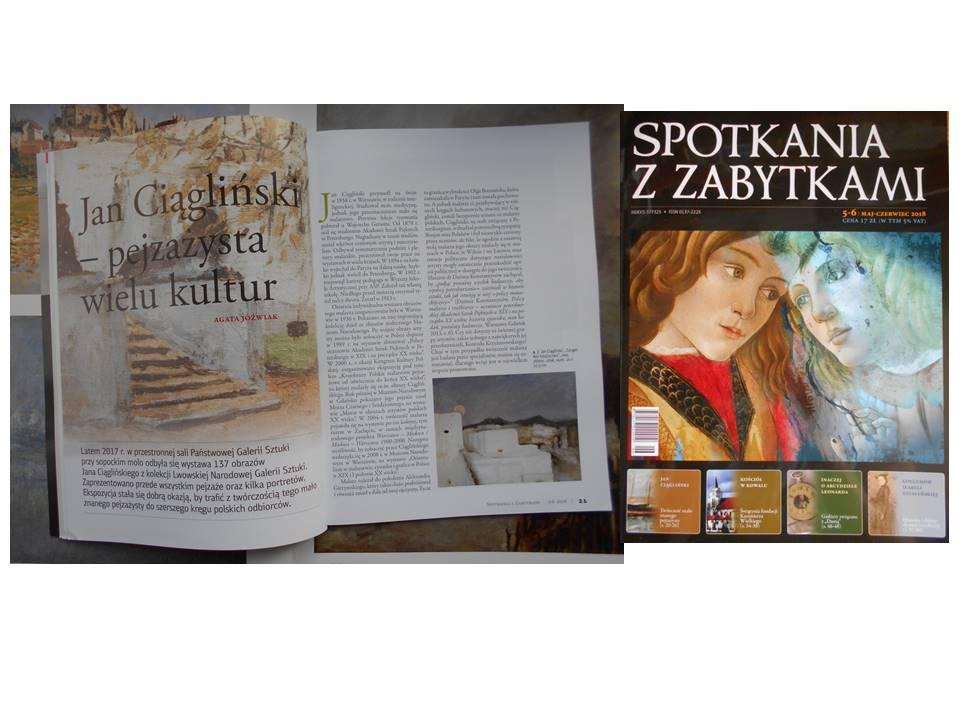 Article: Jan Ciągliński-painter of variuos cultures, magazine- Spotkania z zabytkami, 2018