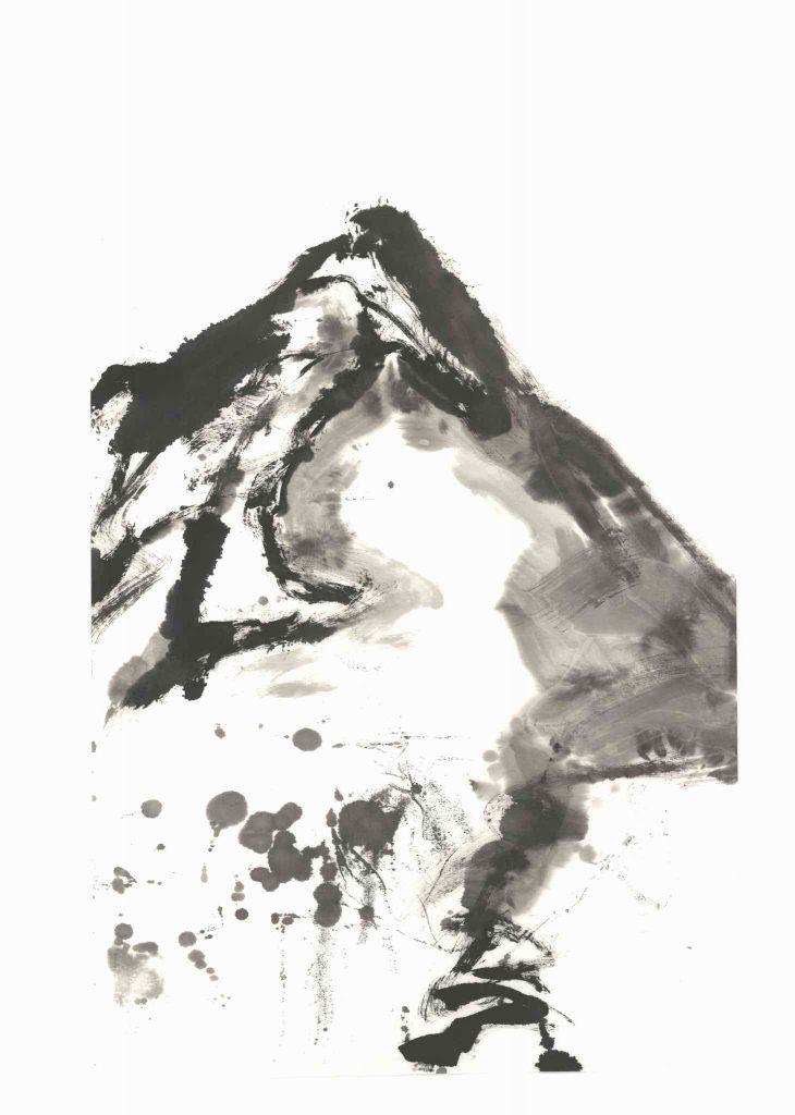 Kościelec Mountain (Tatras, Poland), 50x70cm, ink, paper, 2018