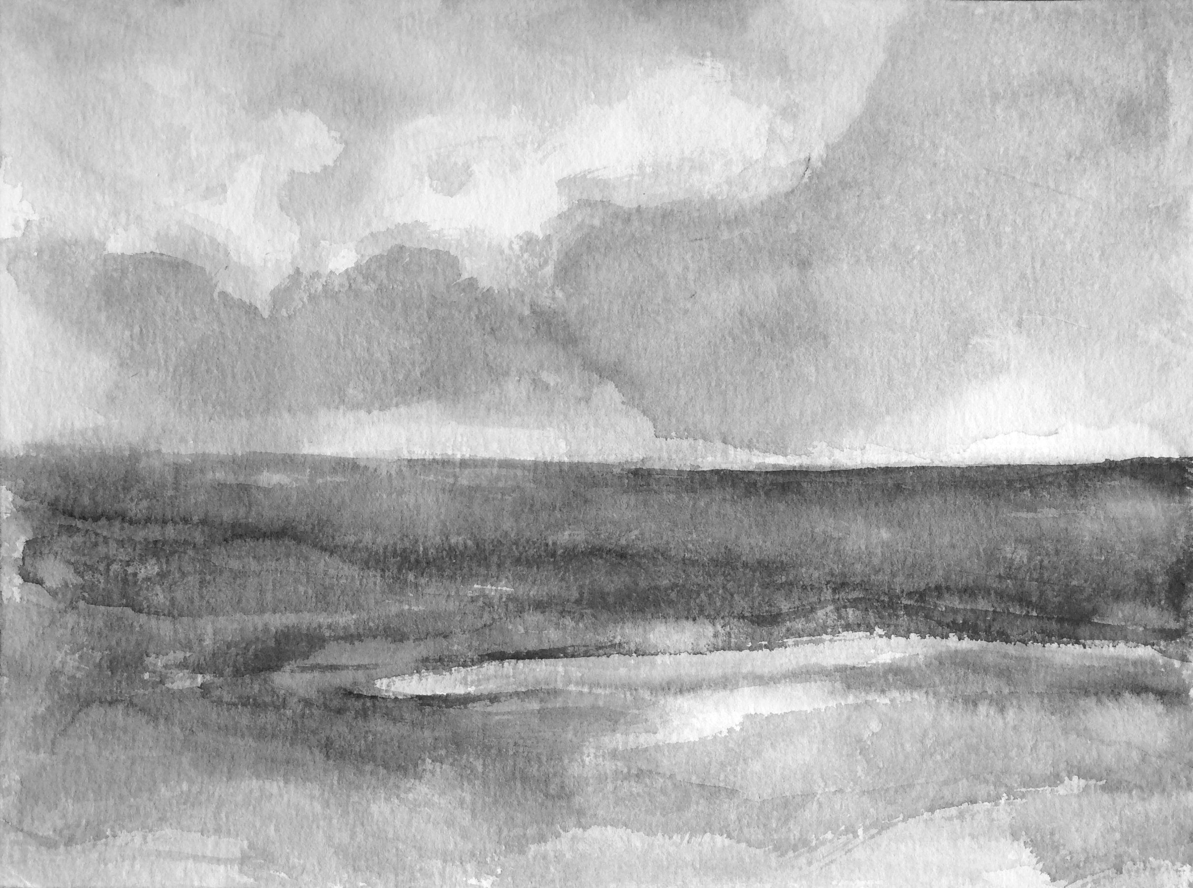 The sea and clouds, 30x40cm, ink, paper, 2020