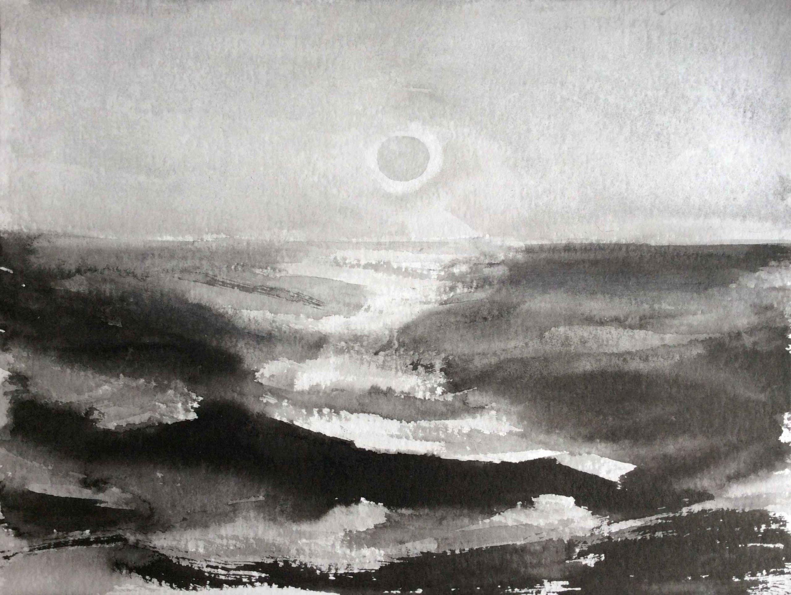 Sunset, 30x40cm, ink, paper, 2020