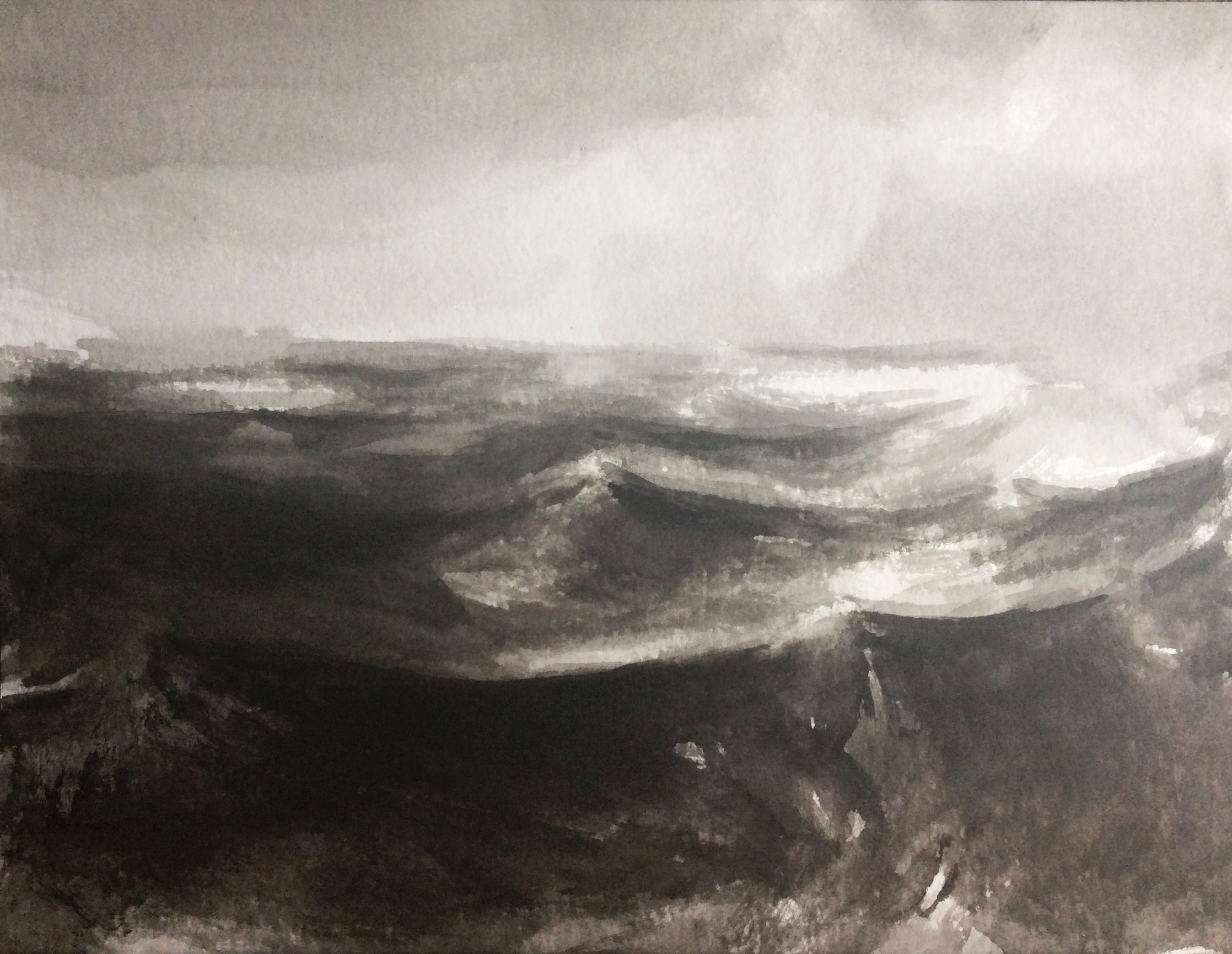 The waves, 30x40cm, ink, paper, 2021