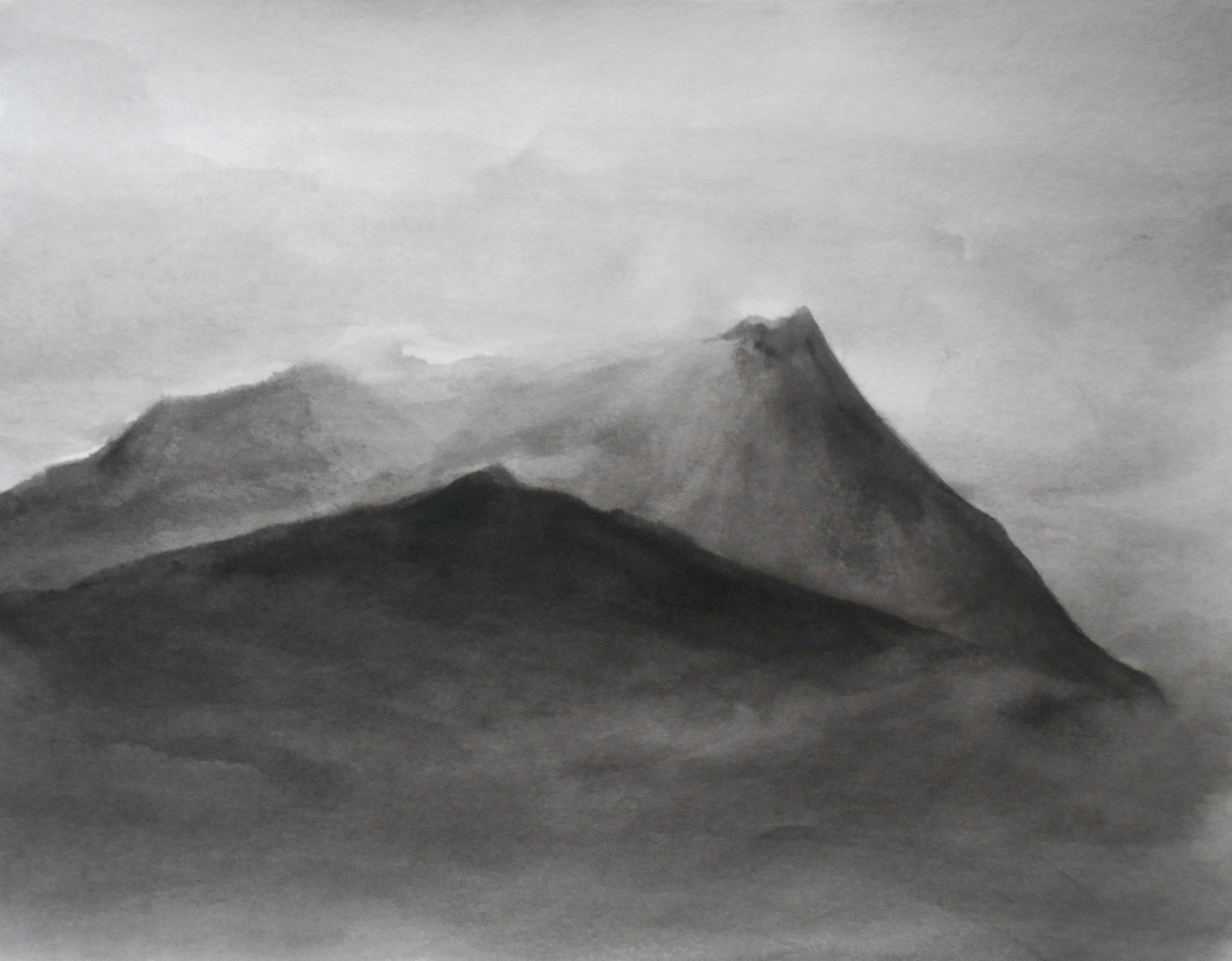 Mountains and the sky, 50x60cm, ink, paper, 2019