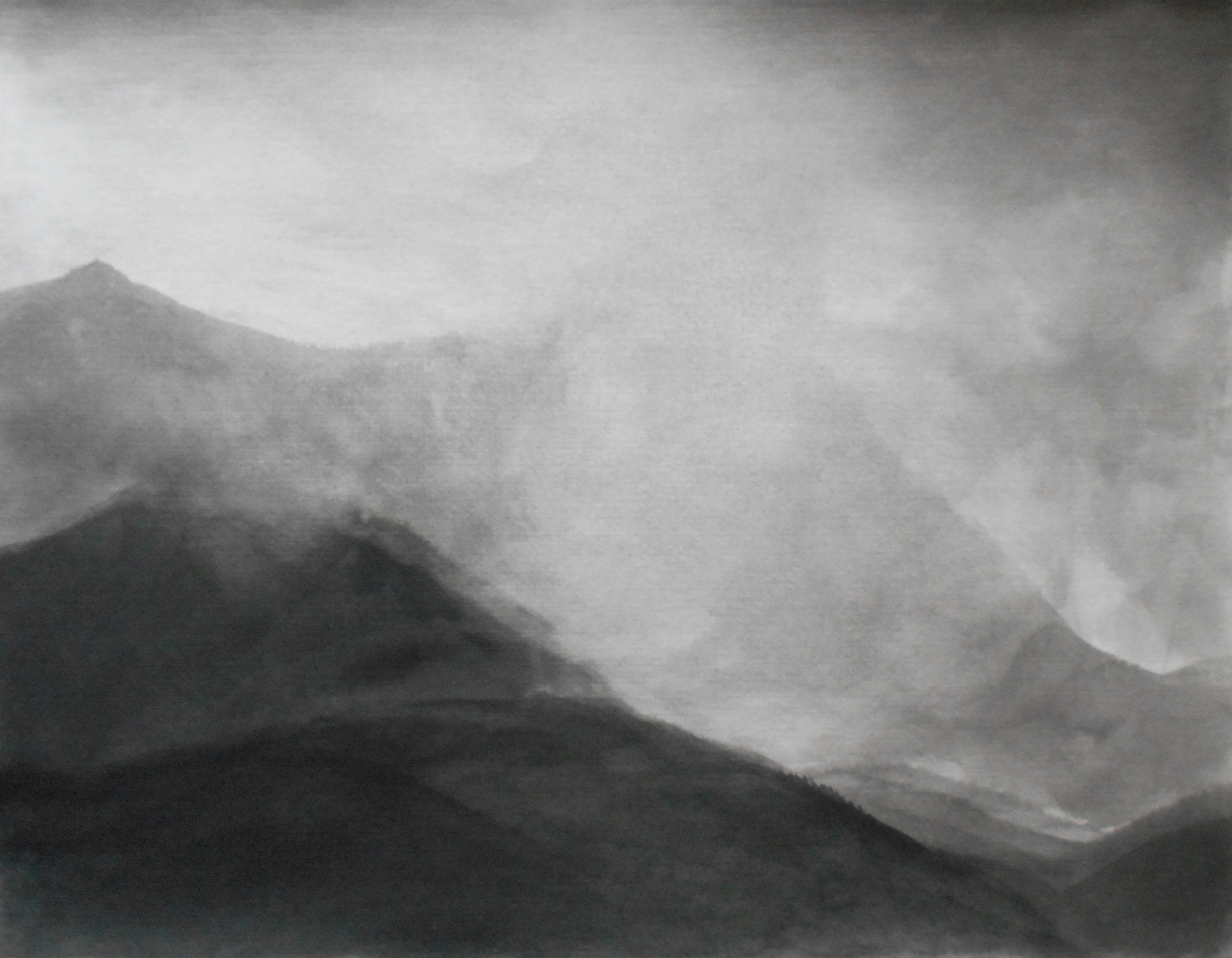 Mountians and the sky, 50x60cm, ink, paper, 2019