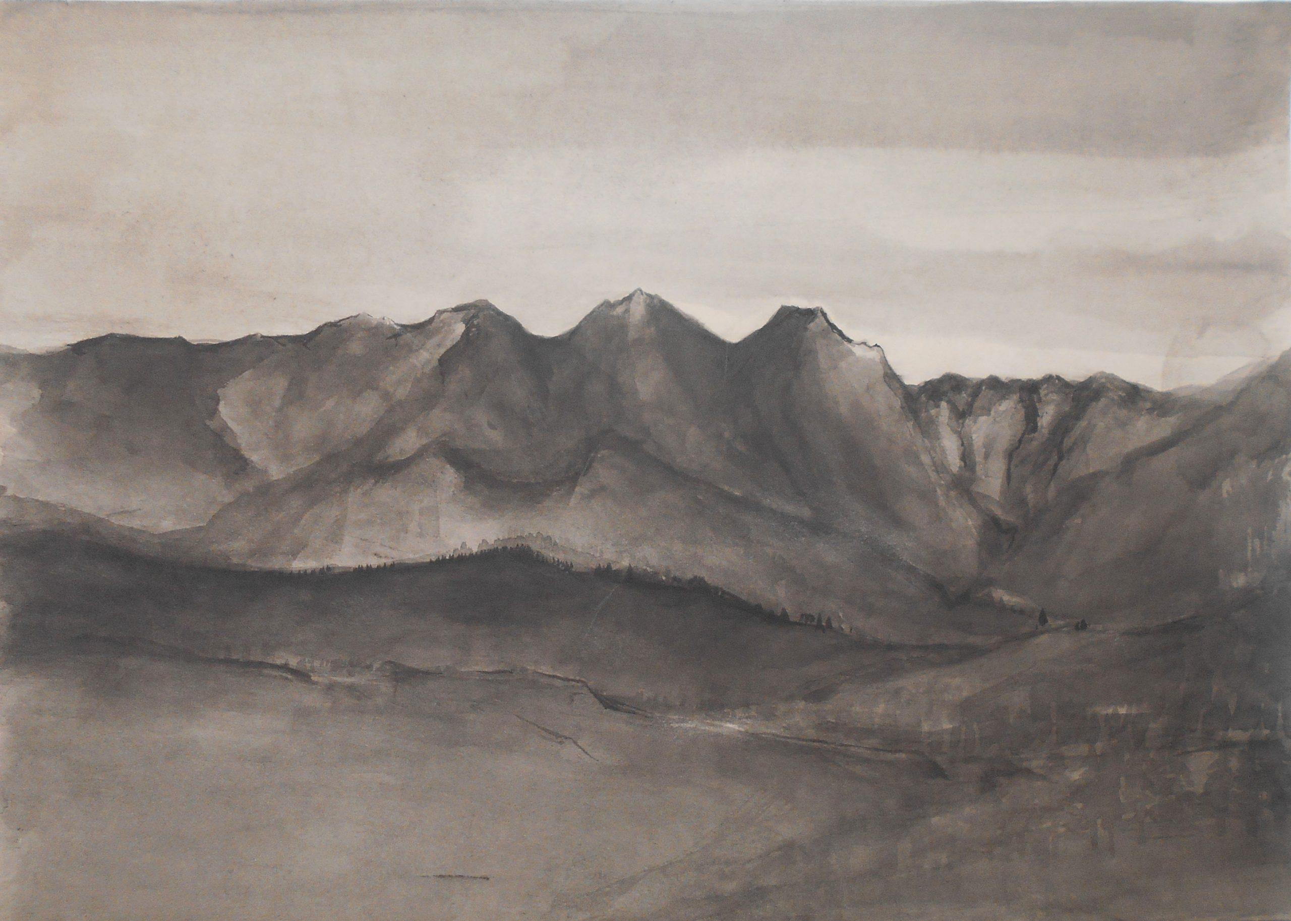 Sleepy mountains, 30x40cm, ink, paper, 2018