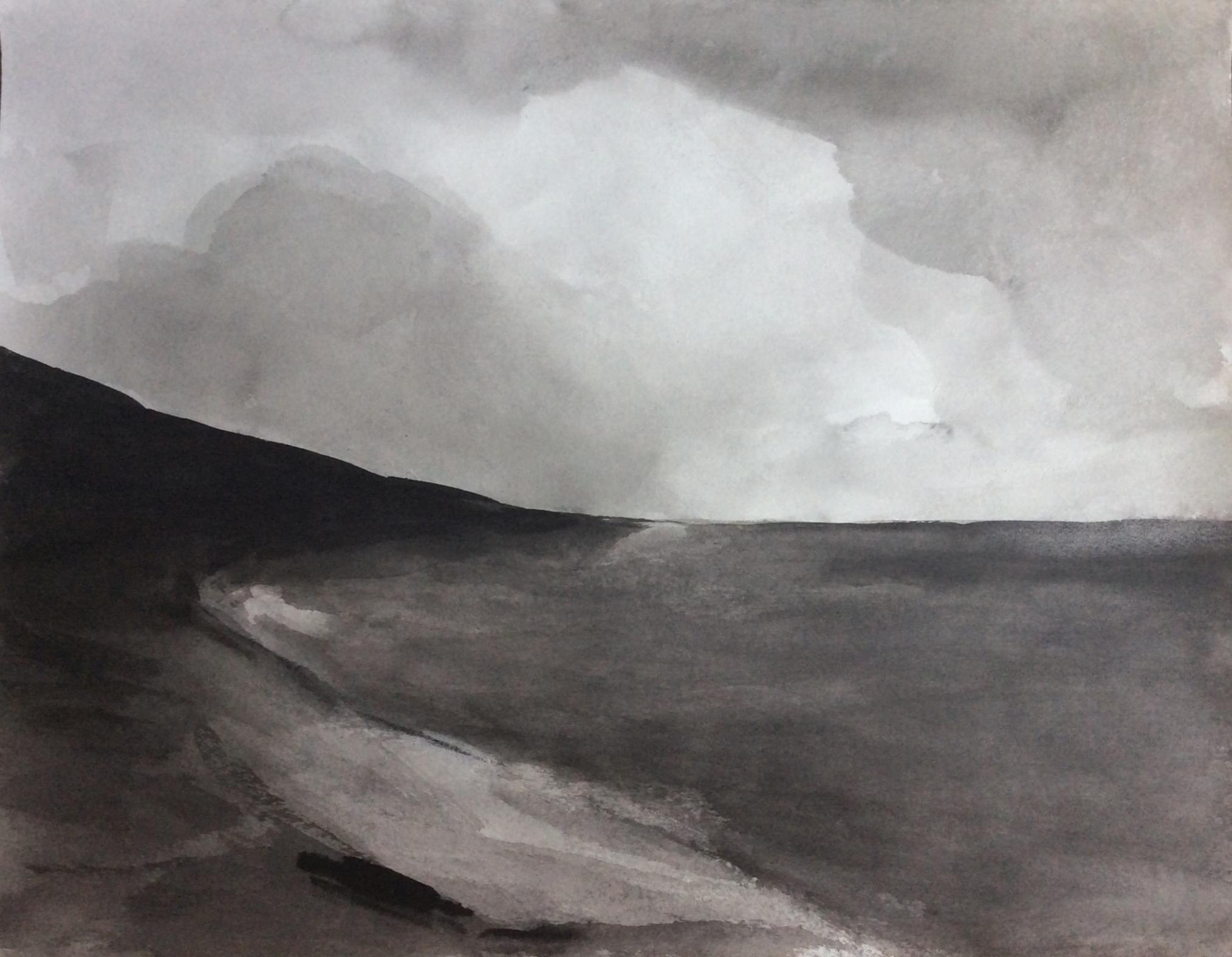 On the seashore, 50x60cm, ink, paper, 2020