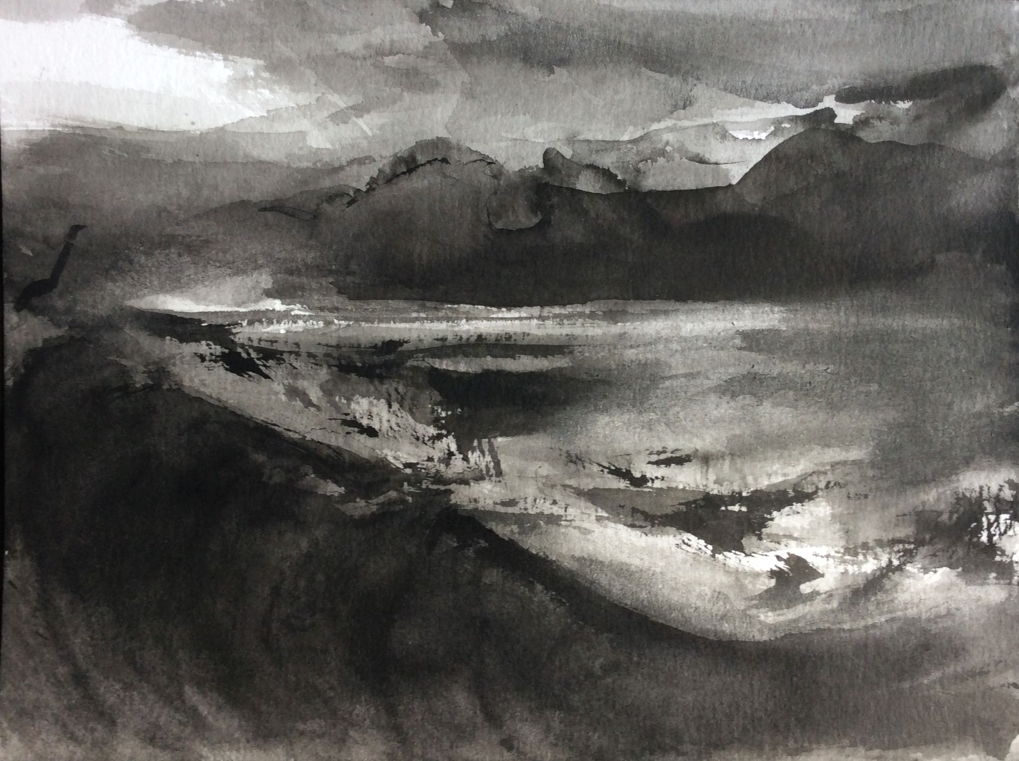Afternoon at the seaside, 30x40cm, ink, paper, 2020